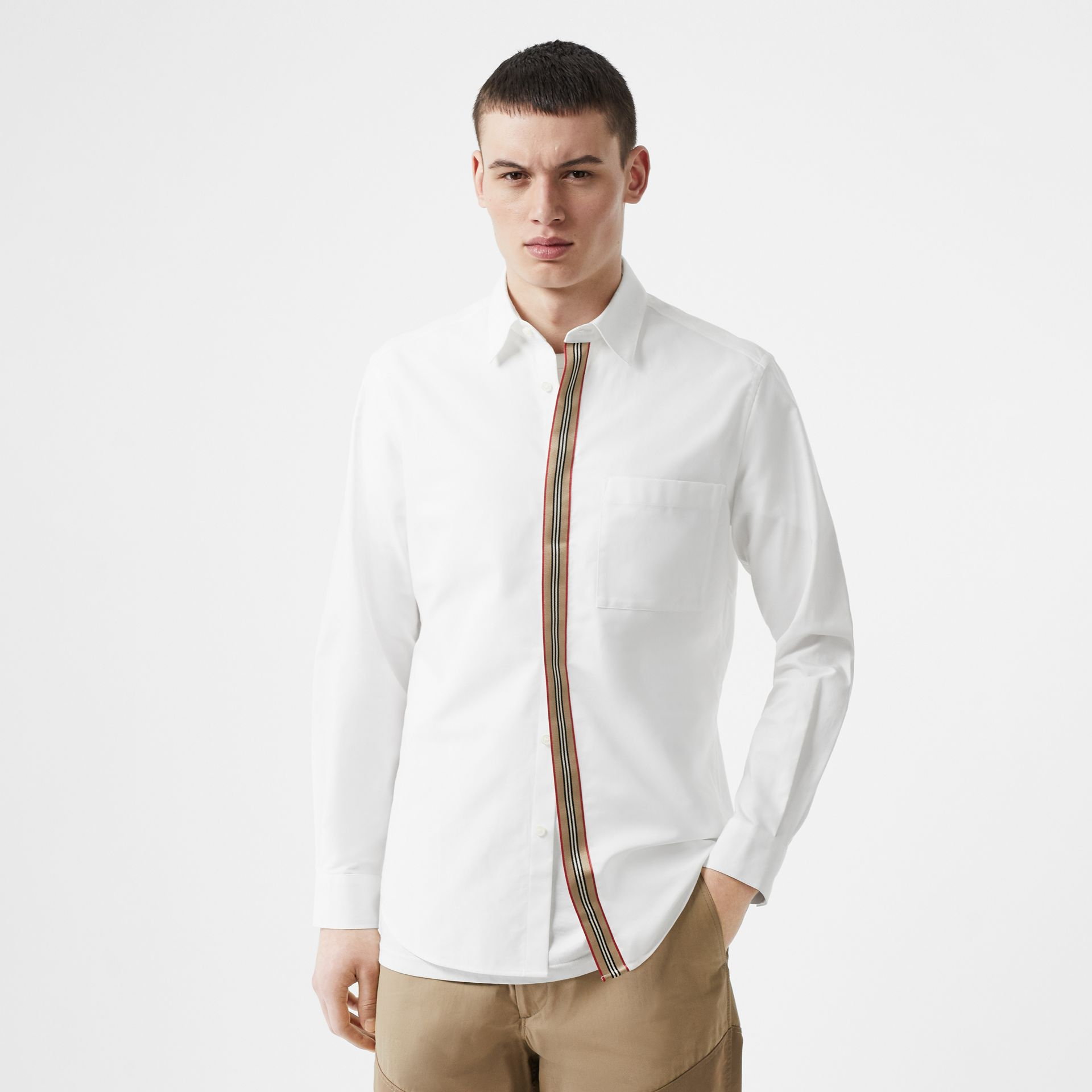 Icon Stripe Detail Stretch Cotton Poplin Shirt in White - Men | Burberry - gallery image 0