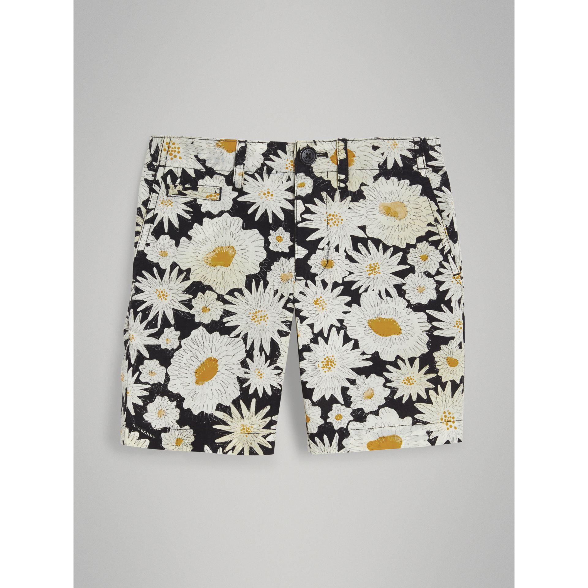 Daisy Print Cotton Chino Shorts in Black - Boy | Burberry - gallery image 0