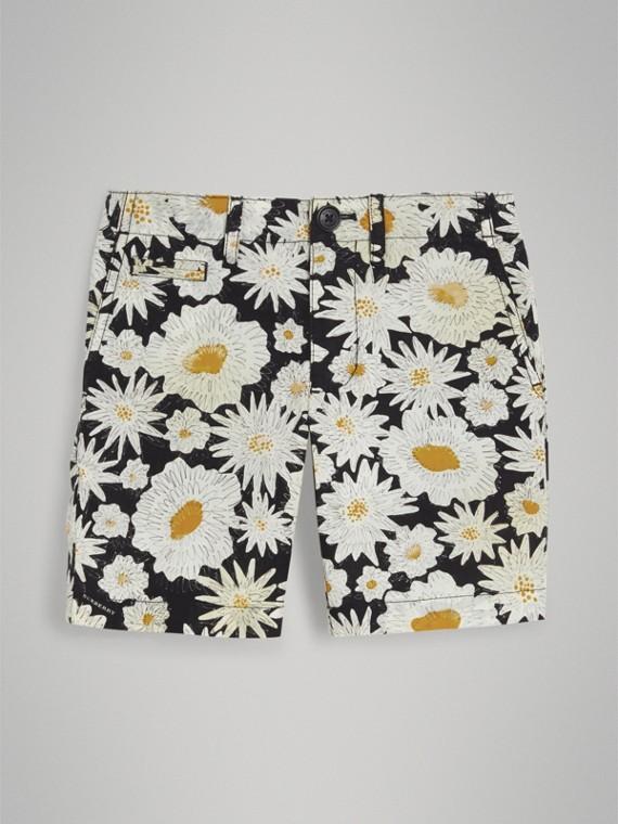 Chino-Shorts aus Baumwolle mit Gänseblümchenmotiv (Schwarz)