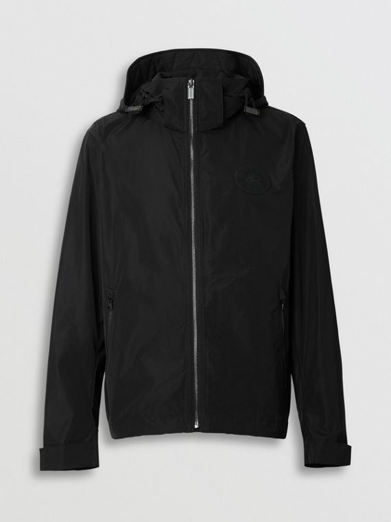 Packaway Hood Shape-memory Taffeta Jacket in Black