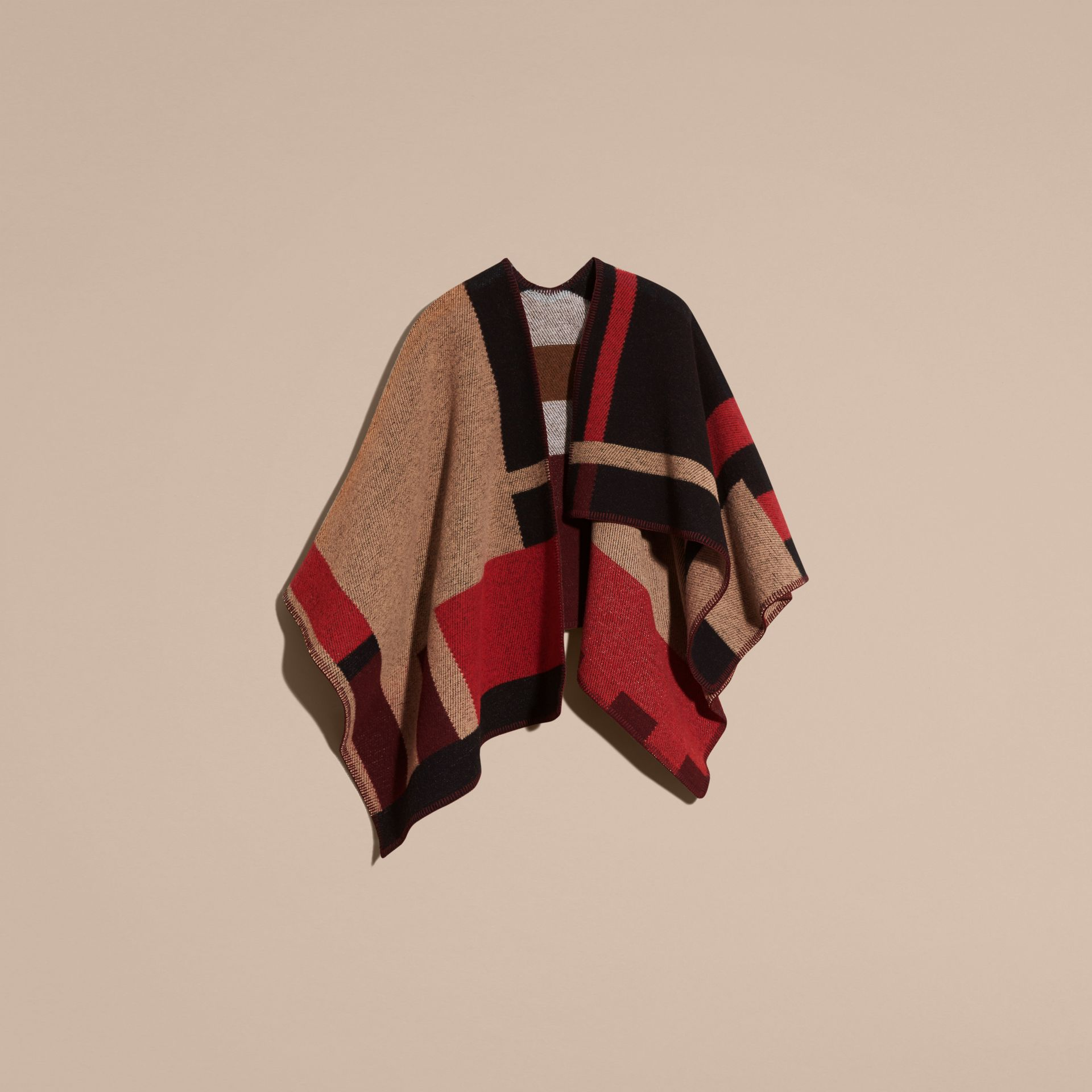 Camel Check Wool Cashmere Poncho - gallery image 4