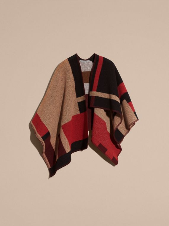 Camel Check Wool Cashmere Poncho - cell image 3