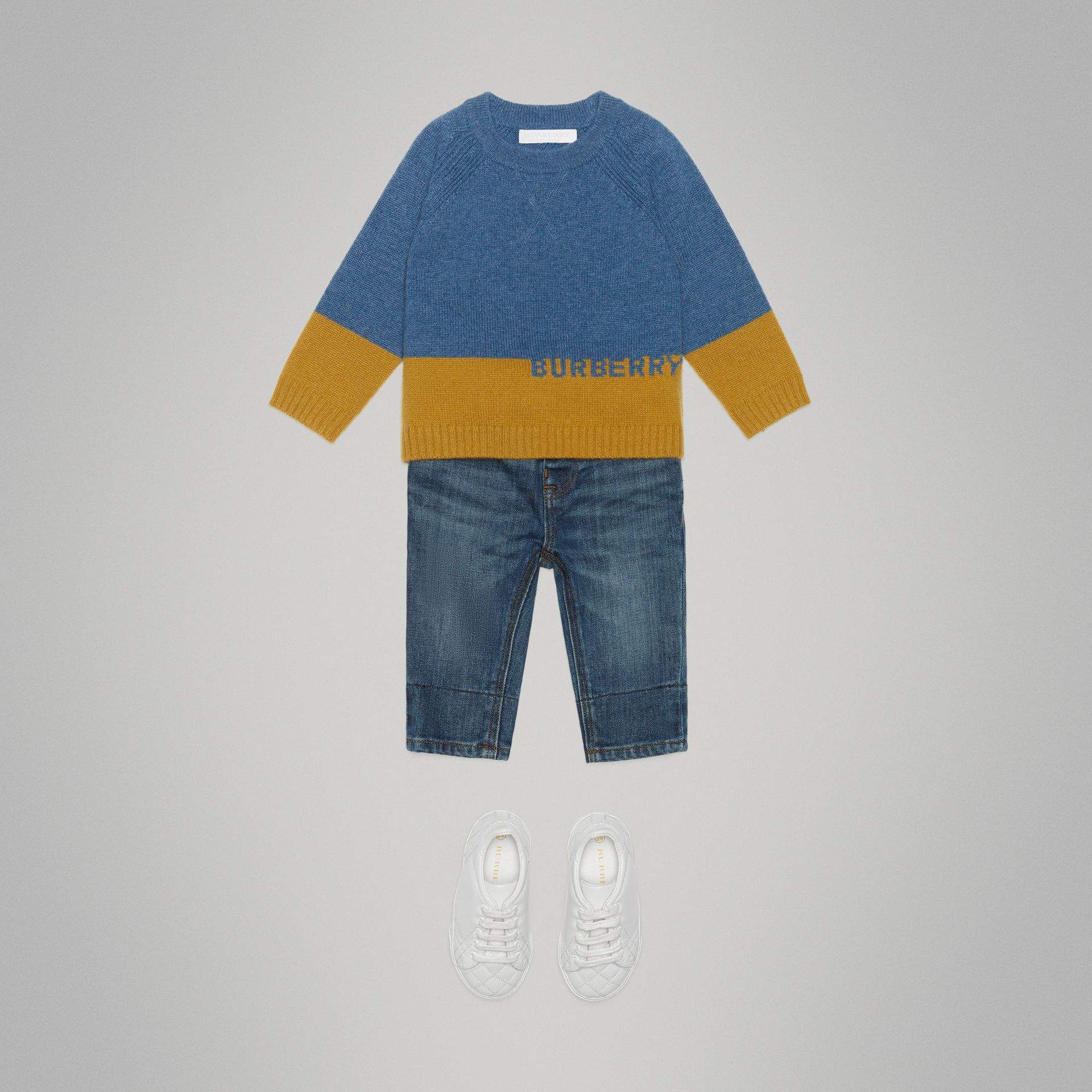 Logo Intarsia Cashmere Sweater in Dusty Blue Melange - Children | Burberry - gallery image 2