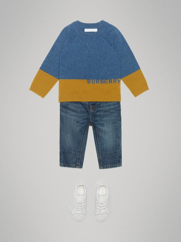 Logo Intarsia Cashmere Sweater in Dusty Blue Melange - Children | Burberry - cell image 2