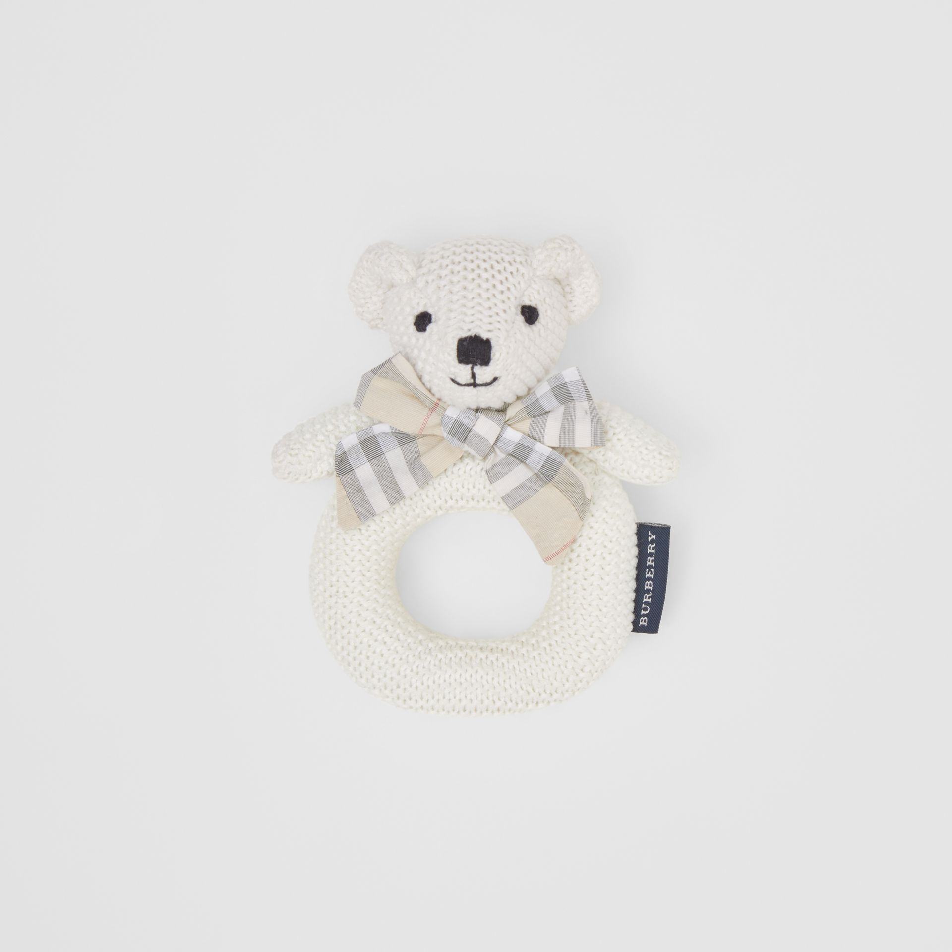Thomas Bear Cotton Rattle in Ivory - Children | Burberry - gallery image 0