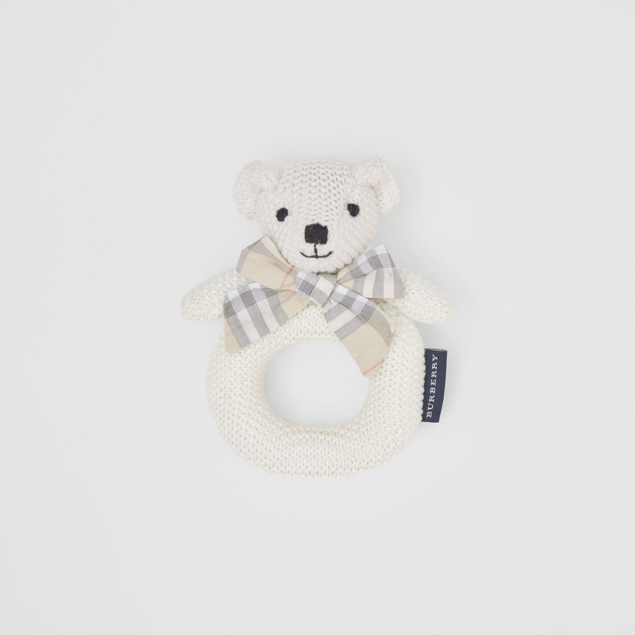 Thomas Bear Cotton Rattle in Ivory - Children | Burberry - 1