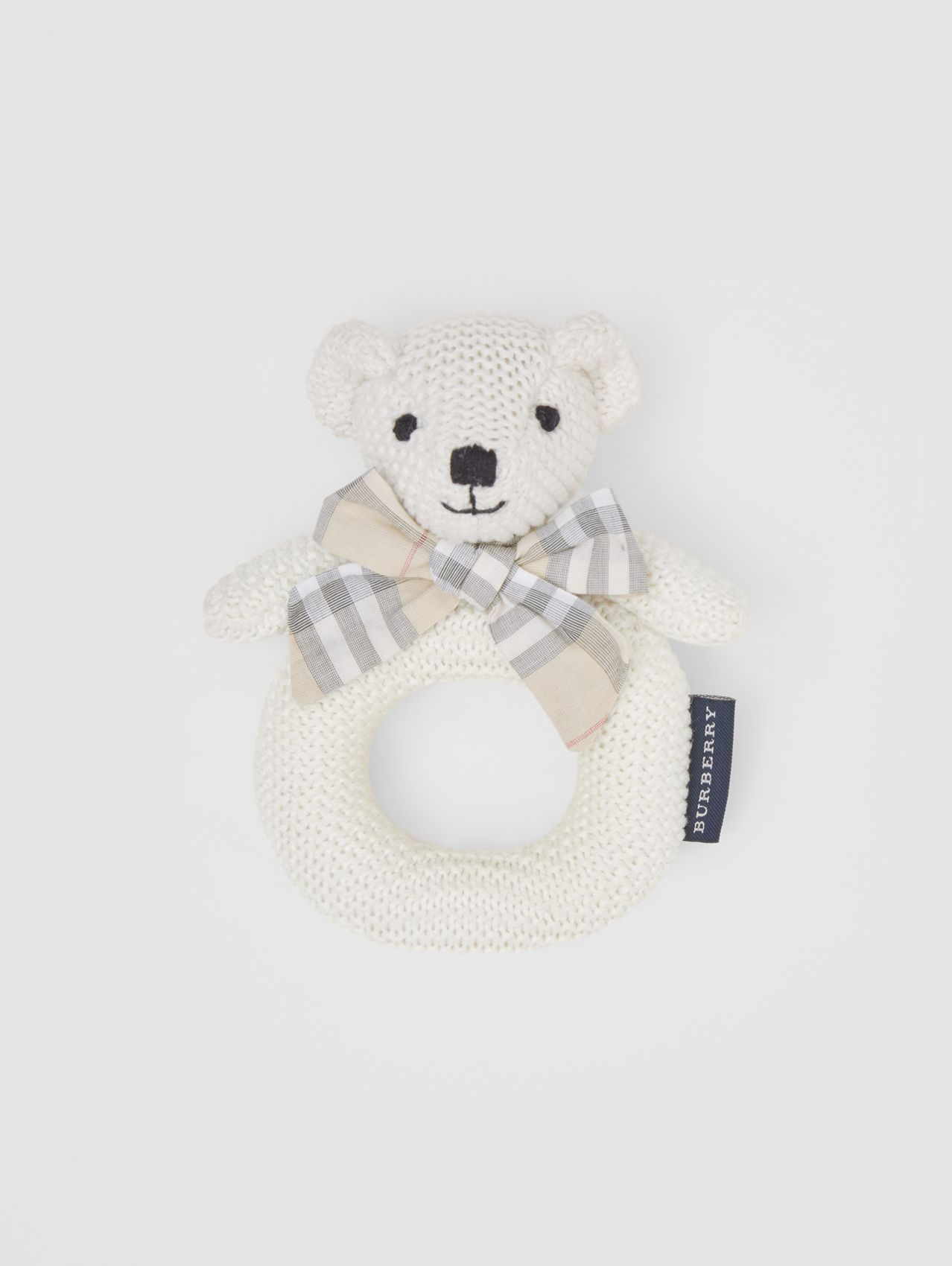 Thomas Bear Cotton Rattle in Ivory