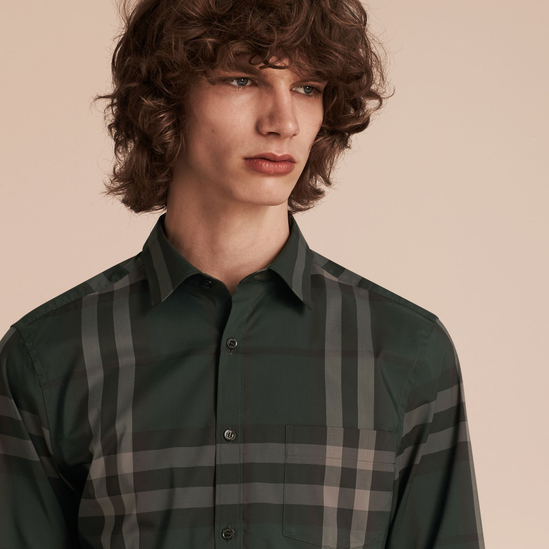 Racing green Check Stretch Cotton Shirt Racing Green - gallery image 5