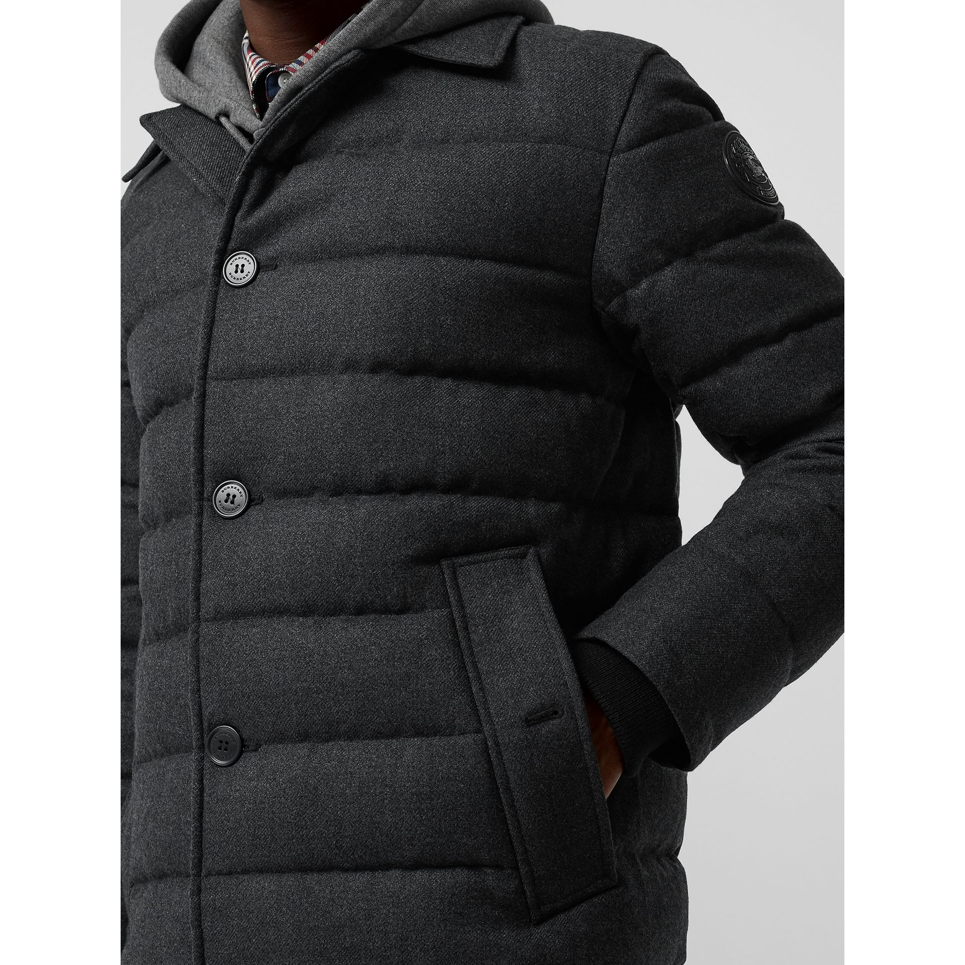 Wool Flannel Down-filled Car Coat in Dark Grey Melange - Men | Burberry United States - gallery image 4