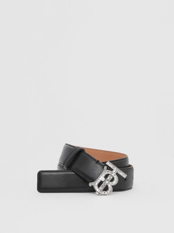 Crystal Monogram Motif Leather Belt in Black/palladium