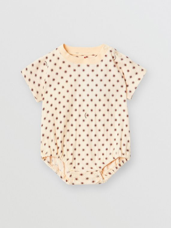 Star Print Pointelle Knit Cotton Bodysuit in Military Red