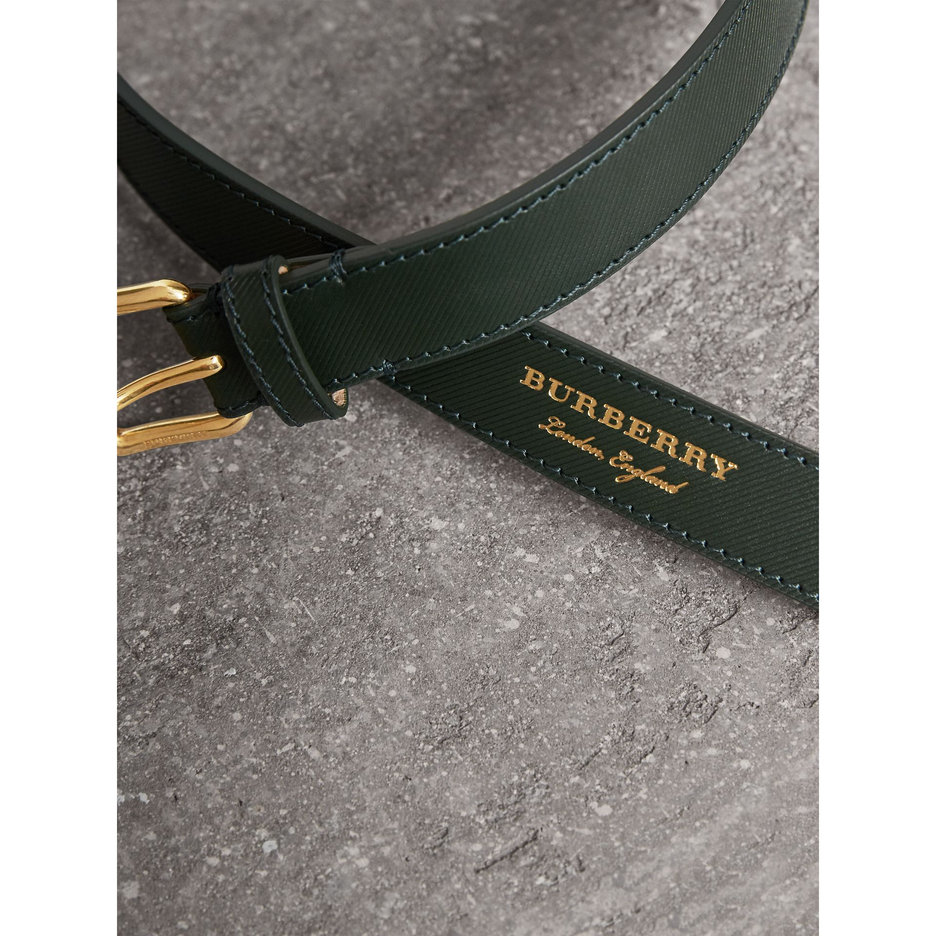 Trench Leather Belt in Dark Forest Green - Men | Burberry - gallery image 2