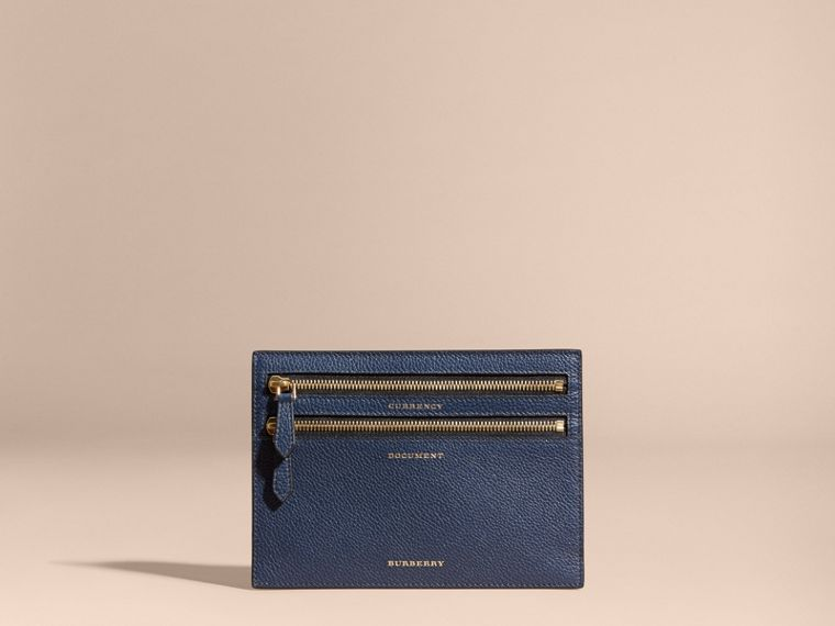 Grainy Leather Currency Wallet in Bright Navy | Burberry - cell image 4