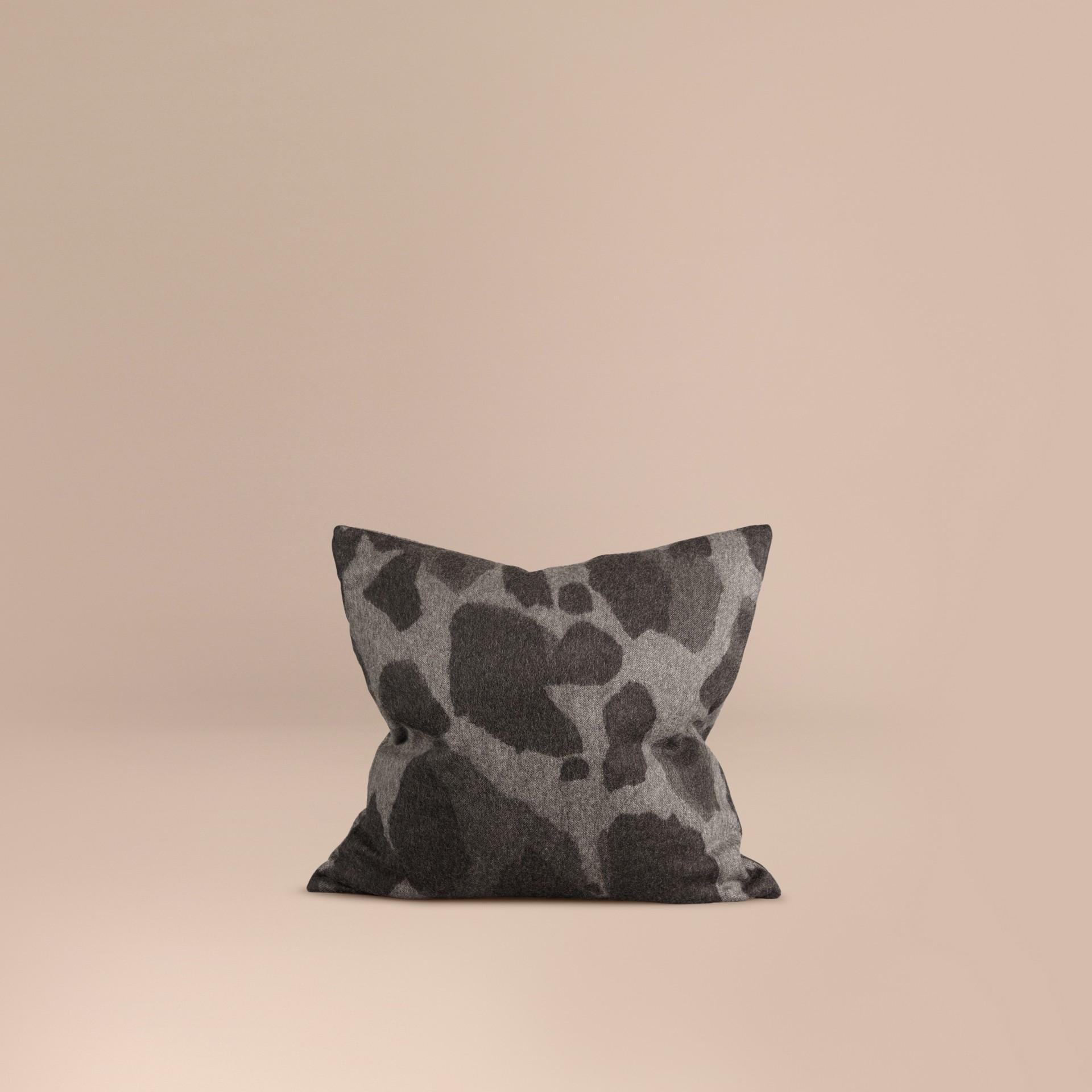 Mid grey print Animal Jacquard Cashmere Cushion Cover Mid Grey Print - gallery image 1