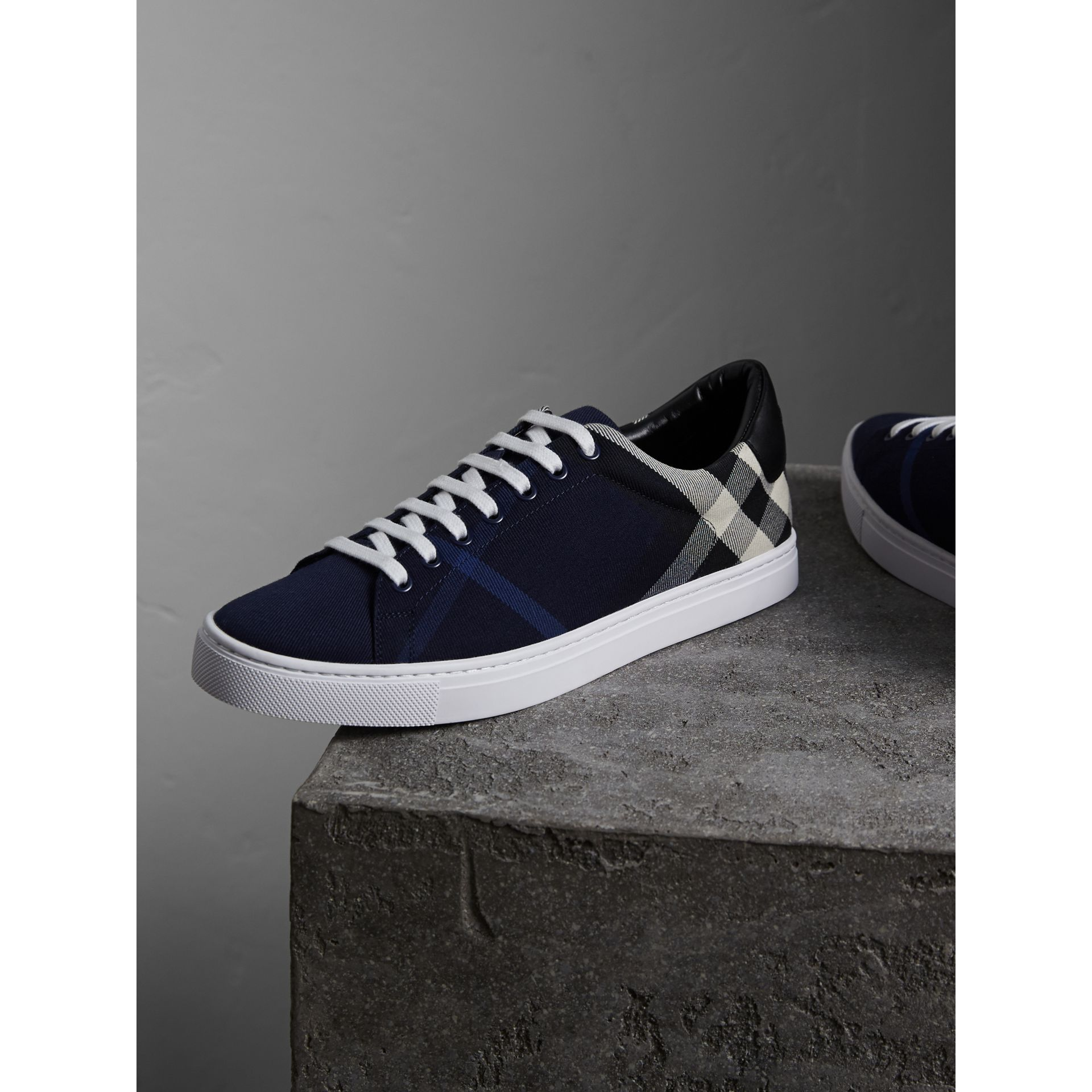 Overdyed House Check Cotton Trainers in Indigo Blue/black - Men | Burberry - gallery image 4