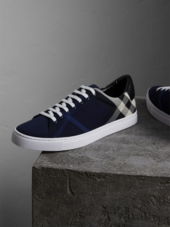 Overdyed House Check Cotton Trainers in Indigo Blue/black - Men | Burberry - cell image 3