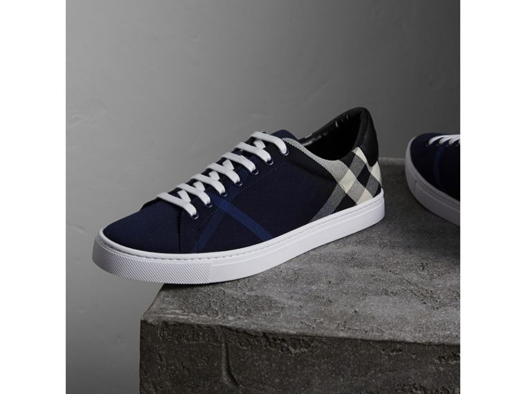 Overdyed House Check Cotton Trainers in Indigo Blue/black - Men | Burberry Australia - cell image 4