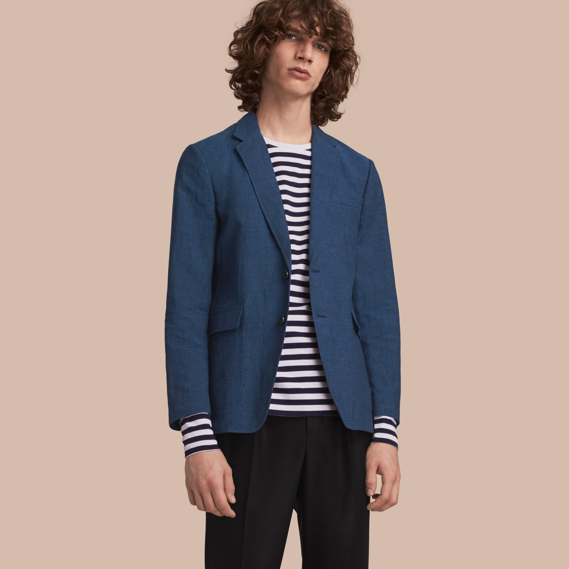 Lightweight Cotton Linen Blazer in Bright Navy - Men | Burberry - gallery image 1