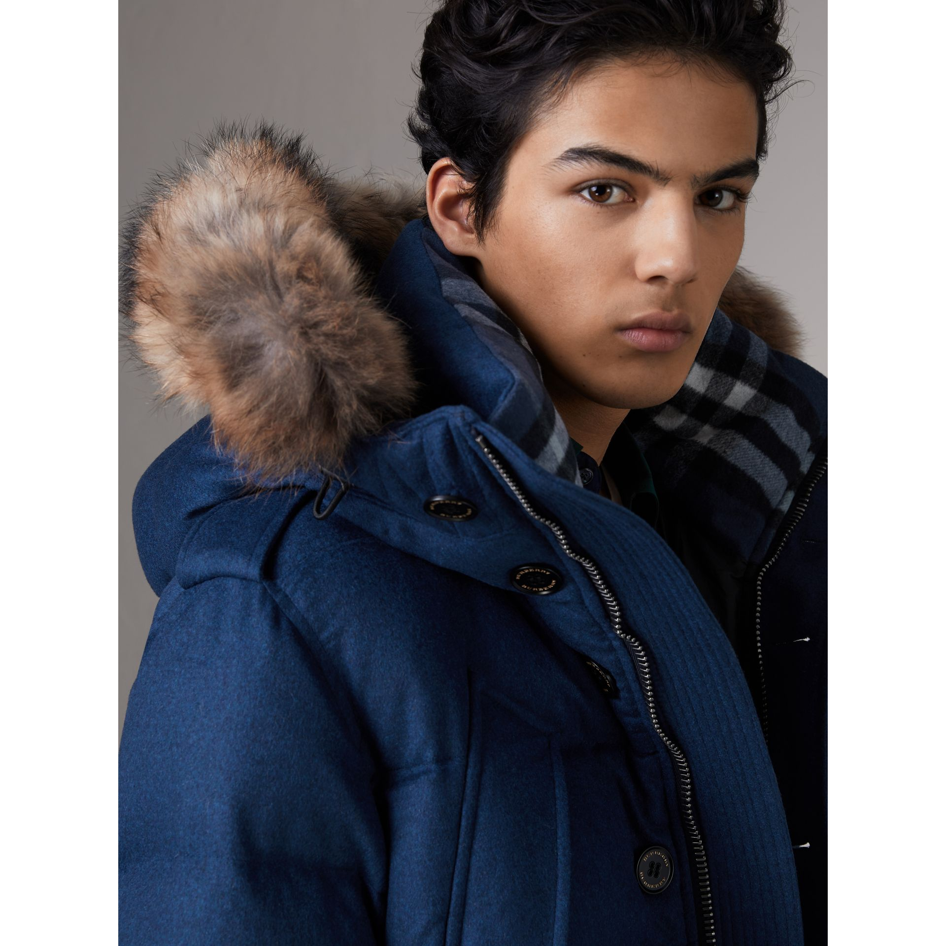 Detachable Fur Trim Cashmere Down-filled Parka in Teal Blue Melange - Men | Burberry - gallery image 2