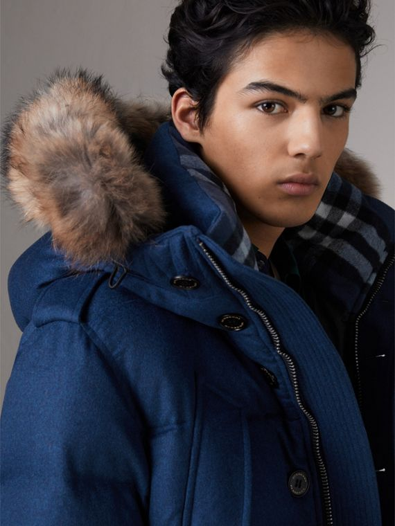 Detachable Fur Trim Cashmere Down-filled Parka in Teal Blue Melange