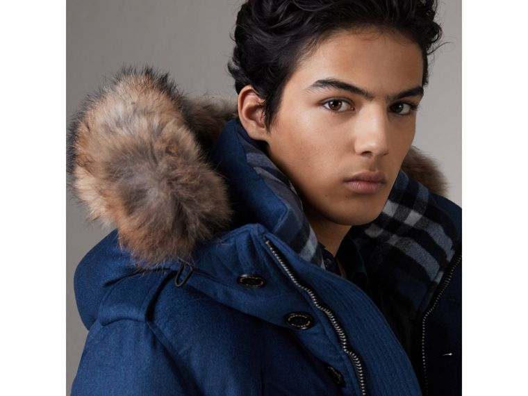 Detachable Fur Trim Cashmere Down-filled Parka in Teal Blue Melange - Men | Burberry - cell image 1