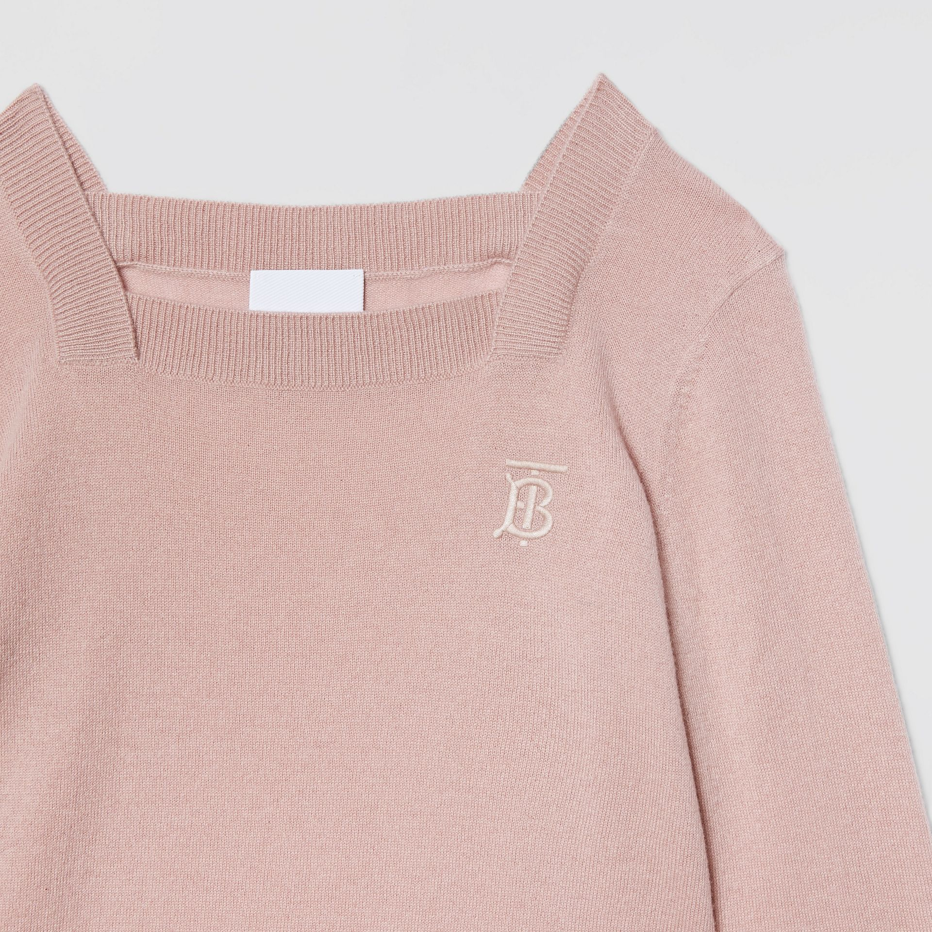 Monogram Motif Cashmere Sweater Dress in Lavender Pink | Burberry - gallery image 4