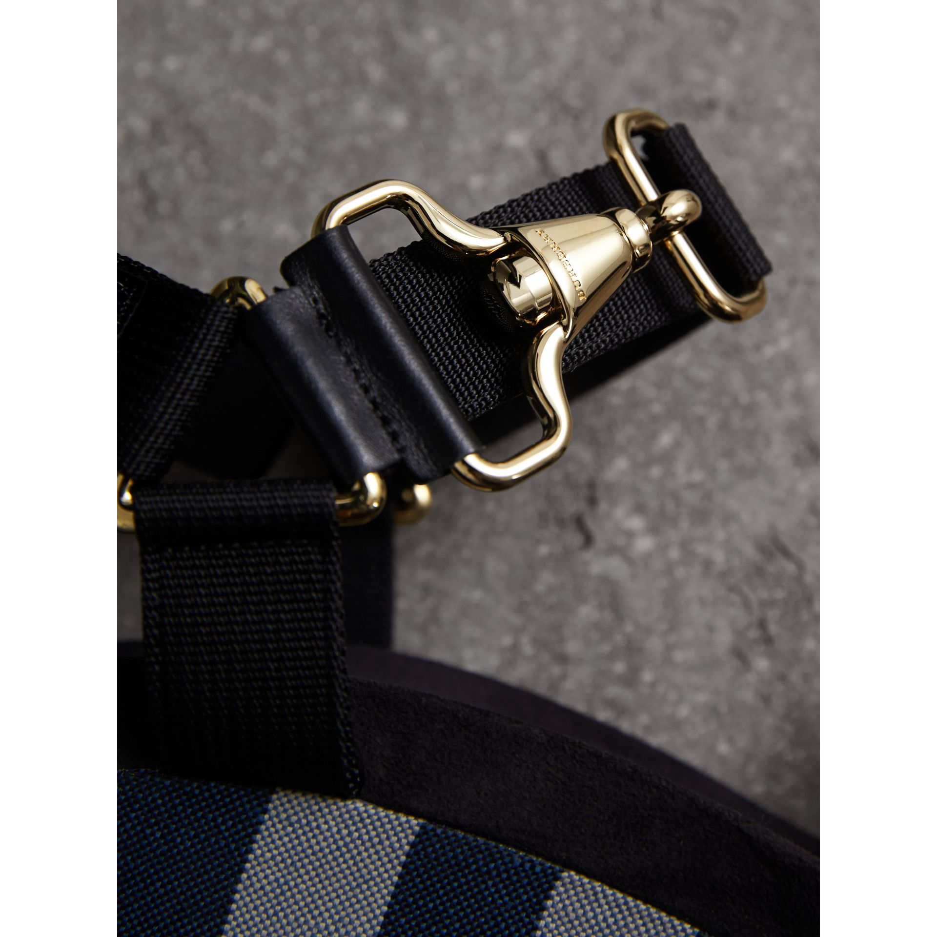 Hardware Detail Ripstop and Check Wedge Sandals - Women | Burberry - gallery image 2