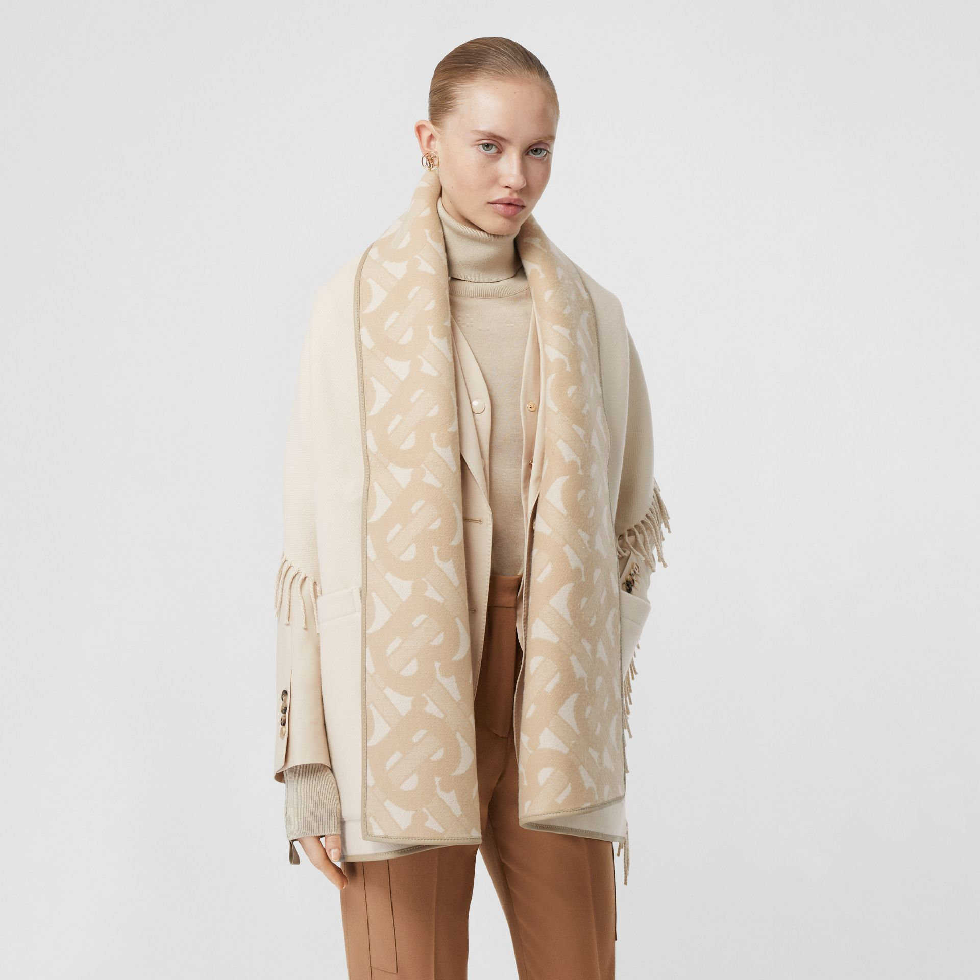 Monogram Merino Wool Cashmere Jacquard Cape in Soft Fawn - Women | Burberry United Kingdom - gallery image 5