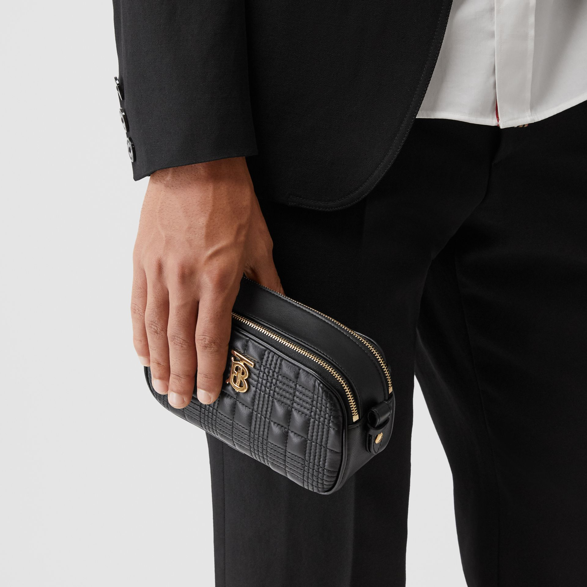Mini Quilted Lambskin Camera Bag in Black   Burberry United Kingdom - gallery image 10