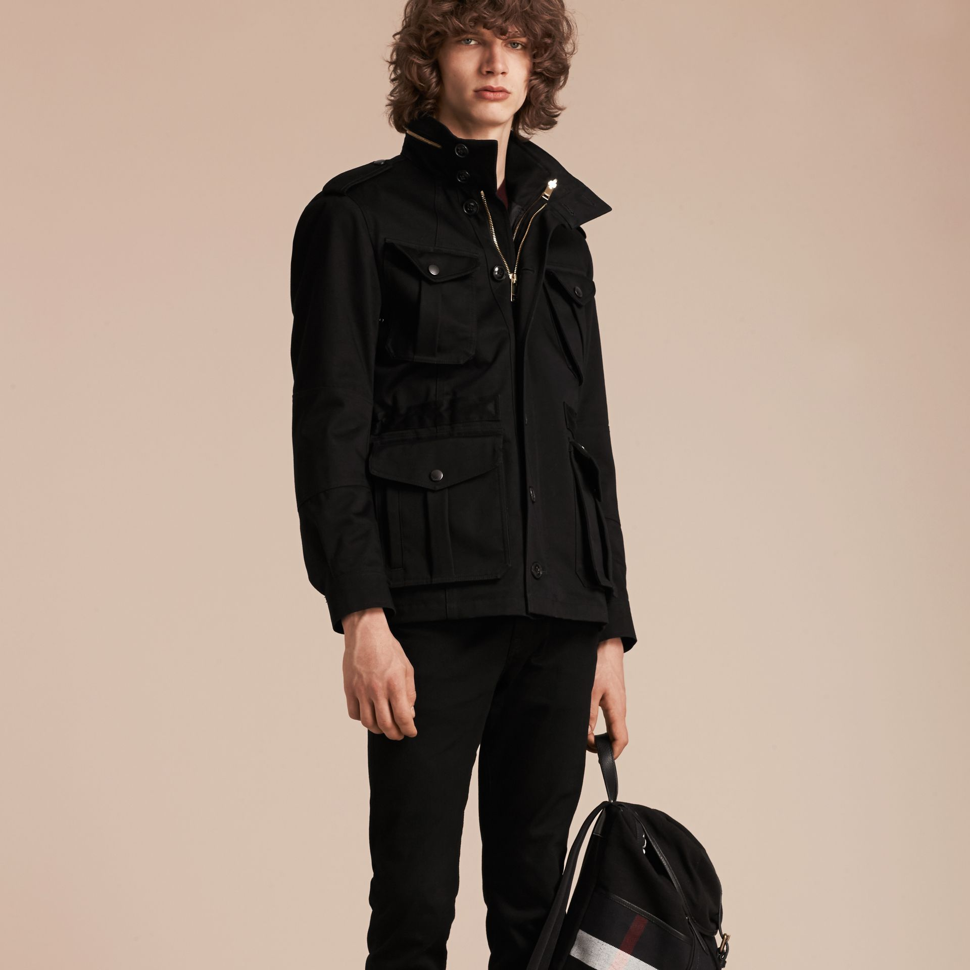 Black Bonded Cotton Field Jacket with Removable Warmer - gallery image 7