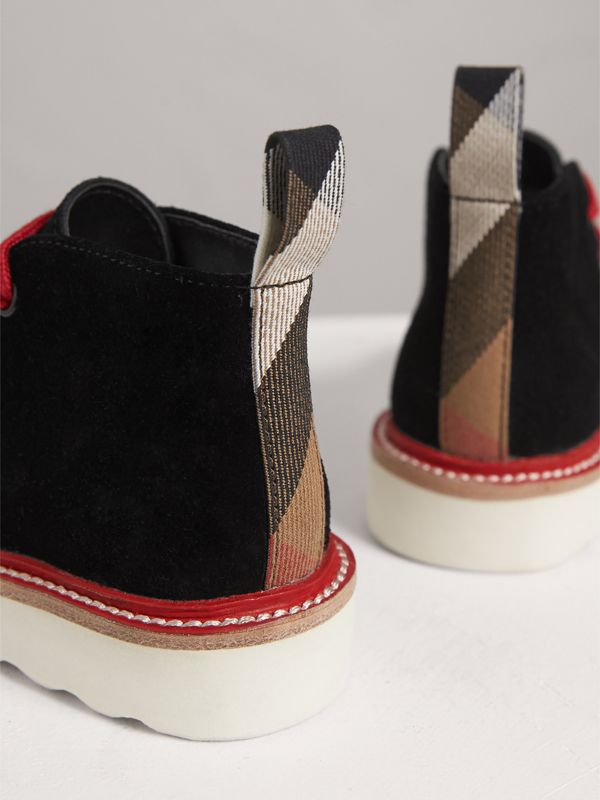 Two-tone Suede Desert Boots in Black | Burberry - cell image 2