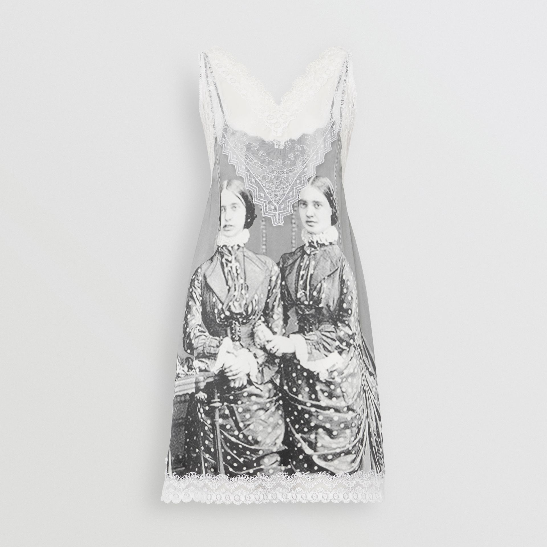 Lace Detail Victorian Portrait Print Silk Slip Dress in Grey - Women | Burberry Singapore - gallery image 3