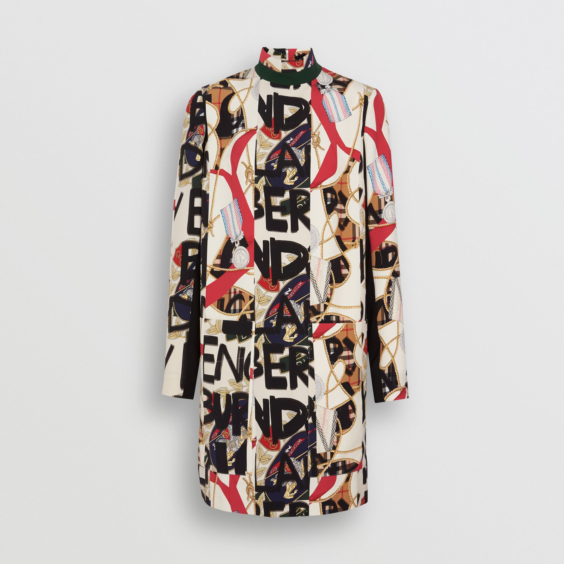 Graffiti Archive Scarf Print Silk Wool Shift Dress in Stone - Women | Burberry Canada - gallery image 3
