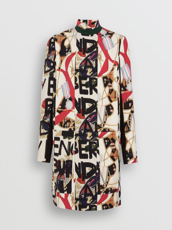 Graffiti Archive Scarf Print Silk Wool Shift Dress in Stone - Women | Burberry - cell image 3