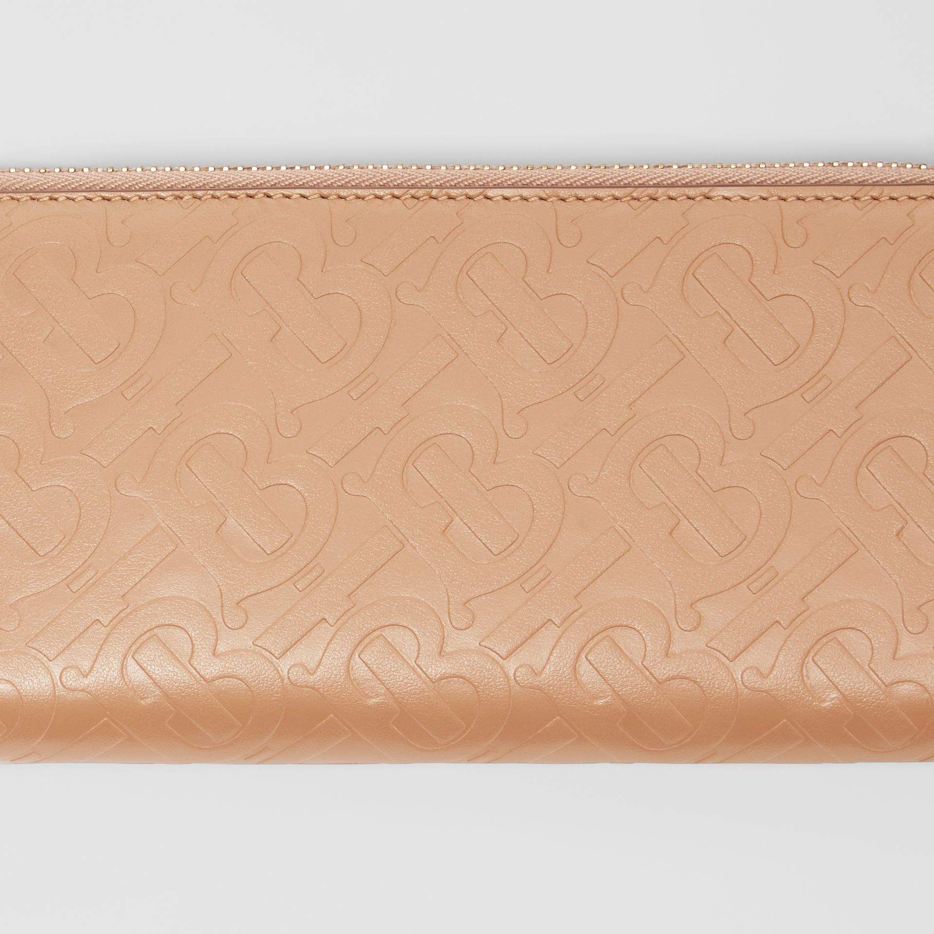 Monogram Leather Ziparound Wallet in Light Camel - Women | Burberry - gallery image 1