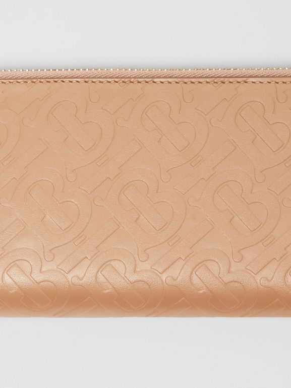 Monogram Leather Ziparound Wallet in Light Camel - Women | Burberry Canada - cell image 1