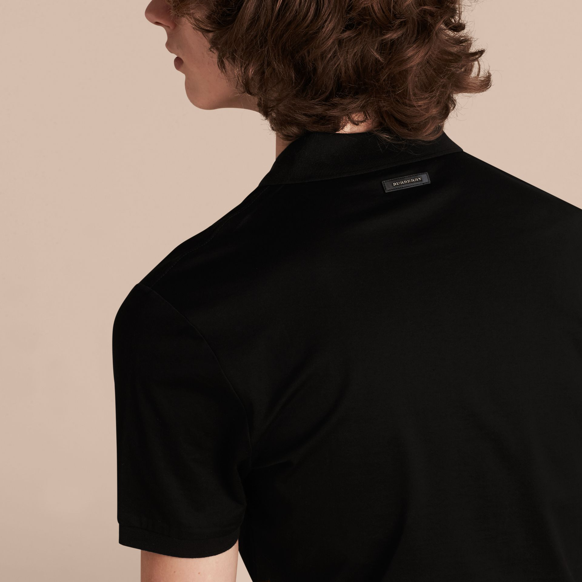 Black Regimental Cotton Polo Shirt Black - gallery image 5