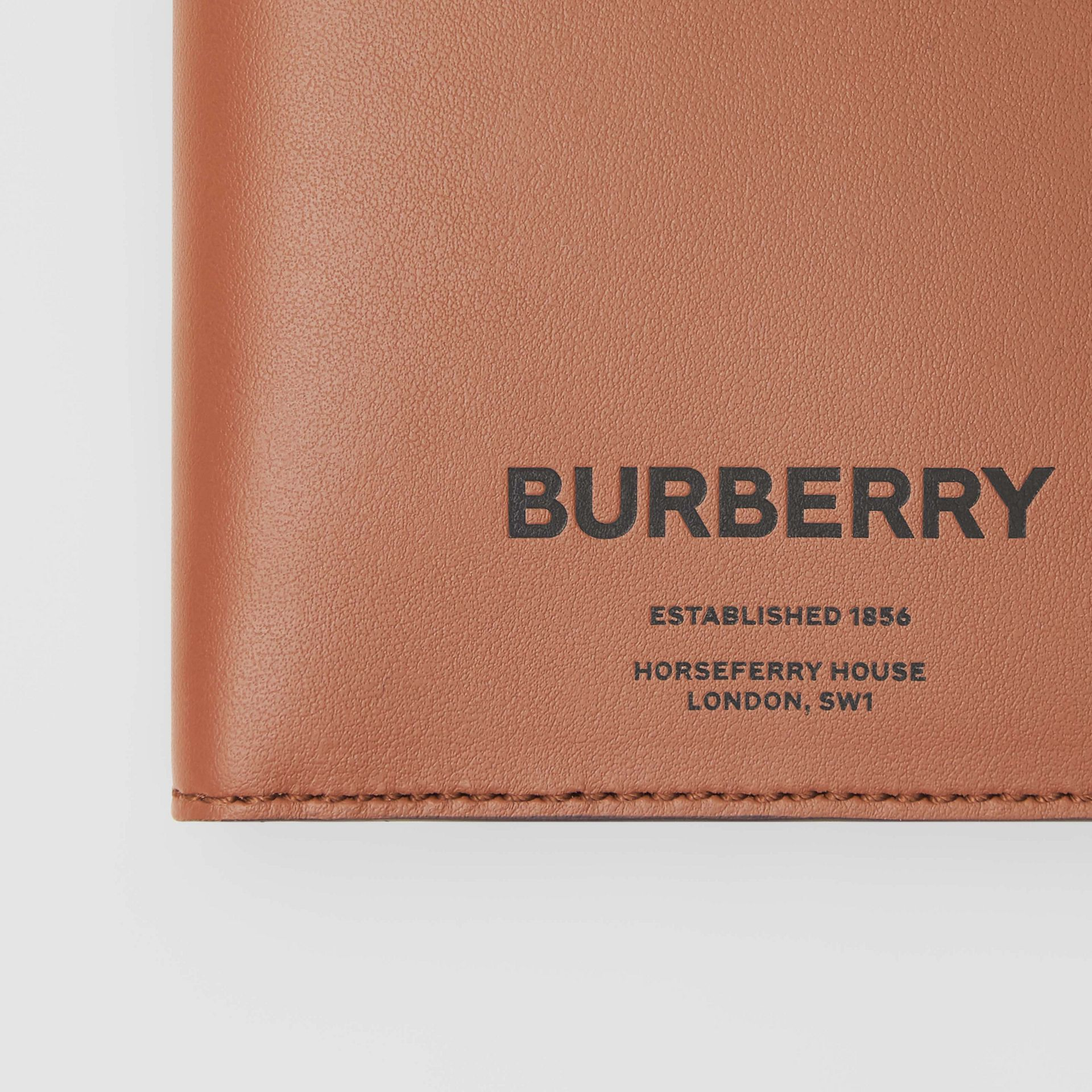 Horseferry Print Leather International Bifold Wallet in Malt Brown - Men | Burberry - gallery image 1