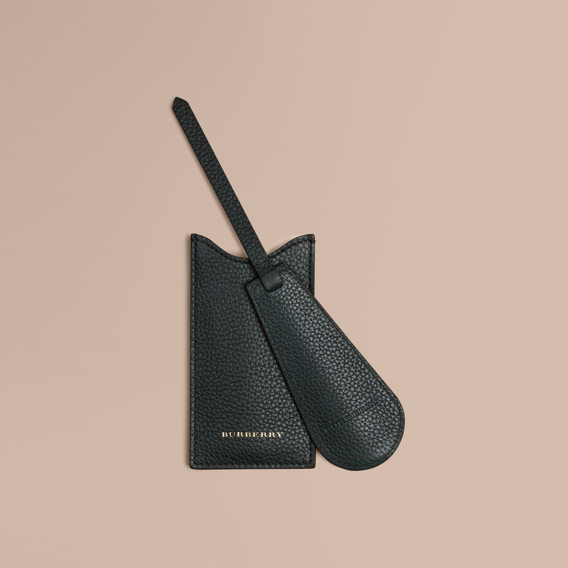 Leather Shoe Horn in Dark Forest Green - Men | Burberry - gallery image 1