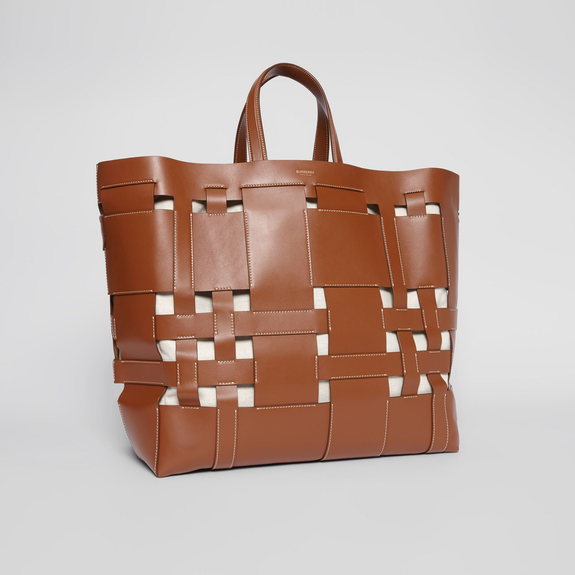 Large Leather Foster Tote in Malt Brown - Women | Burberry - gallery image 6