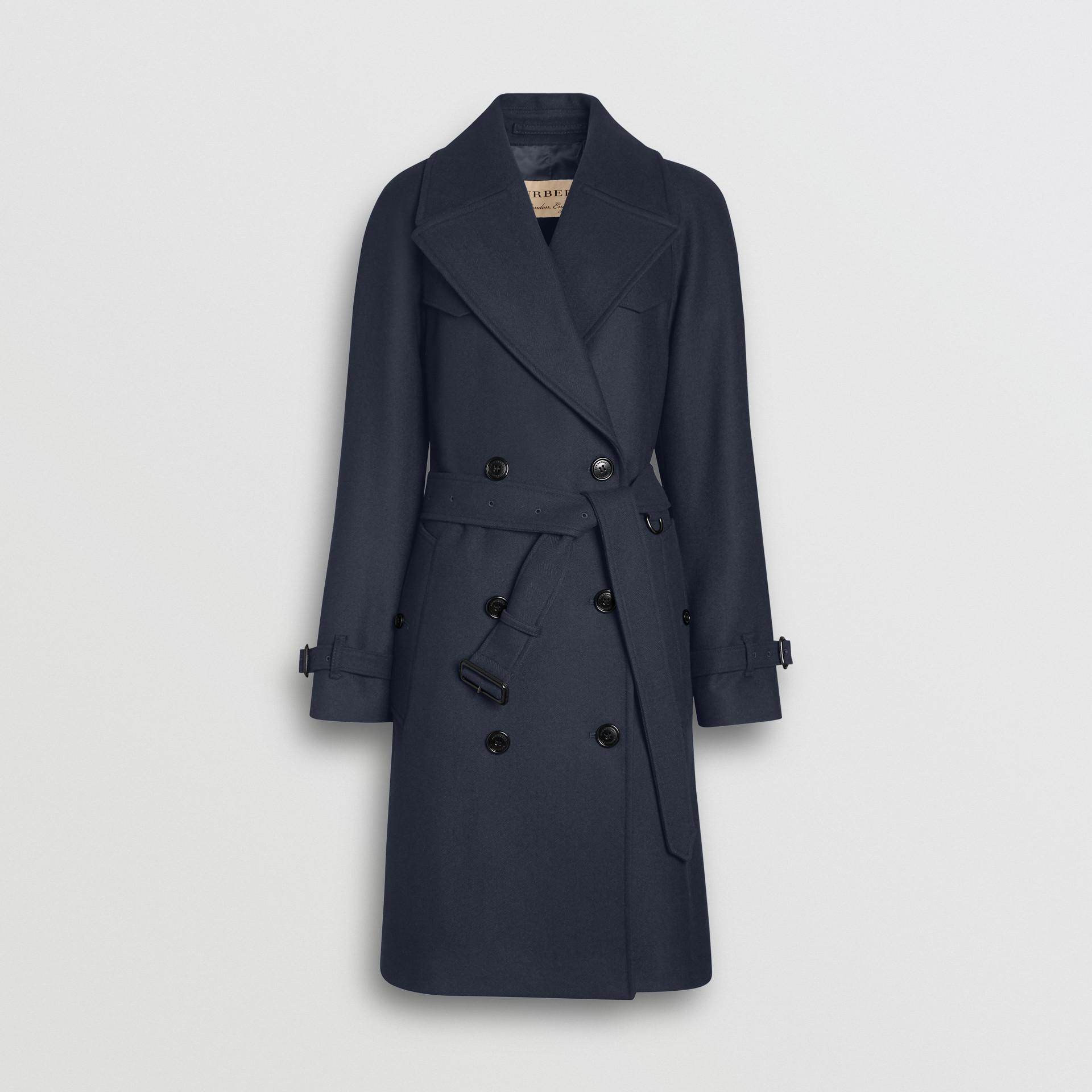 Herringbone Wool Cashmere Blend Trench Coat in Navy - Women | Burberry - gallery image 3