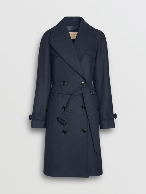 Herringbone Wool Cashmere Blend Trench Coat in Navy - Women | Burberry - cell image 3