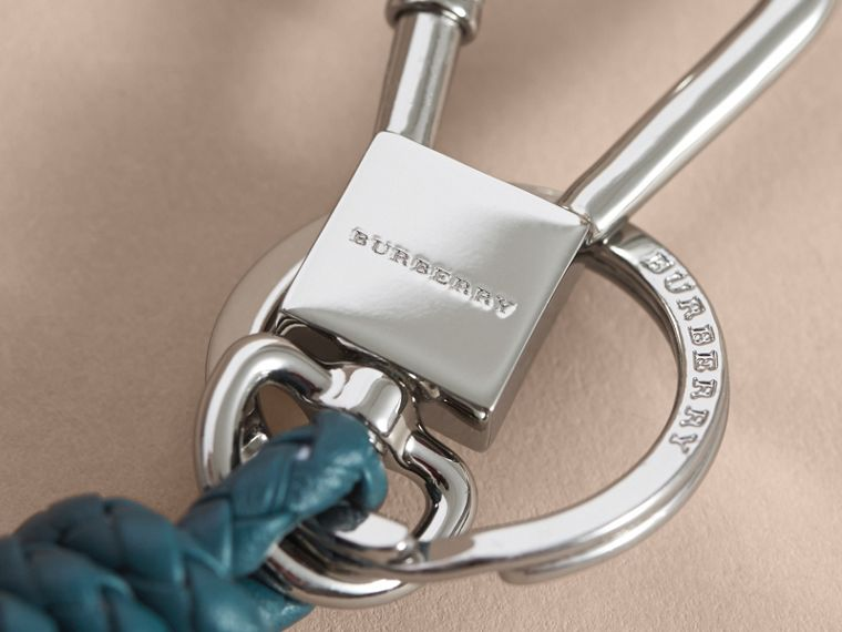 Braided Leather Knot Key Ring in Dark Teal - Men | Burberry - cell image 1