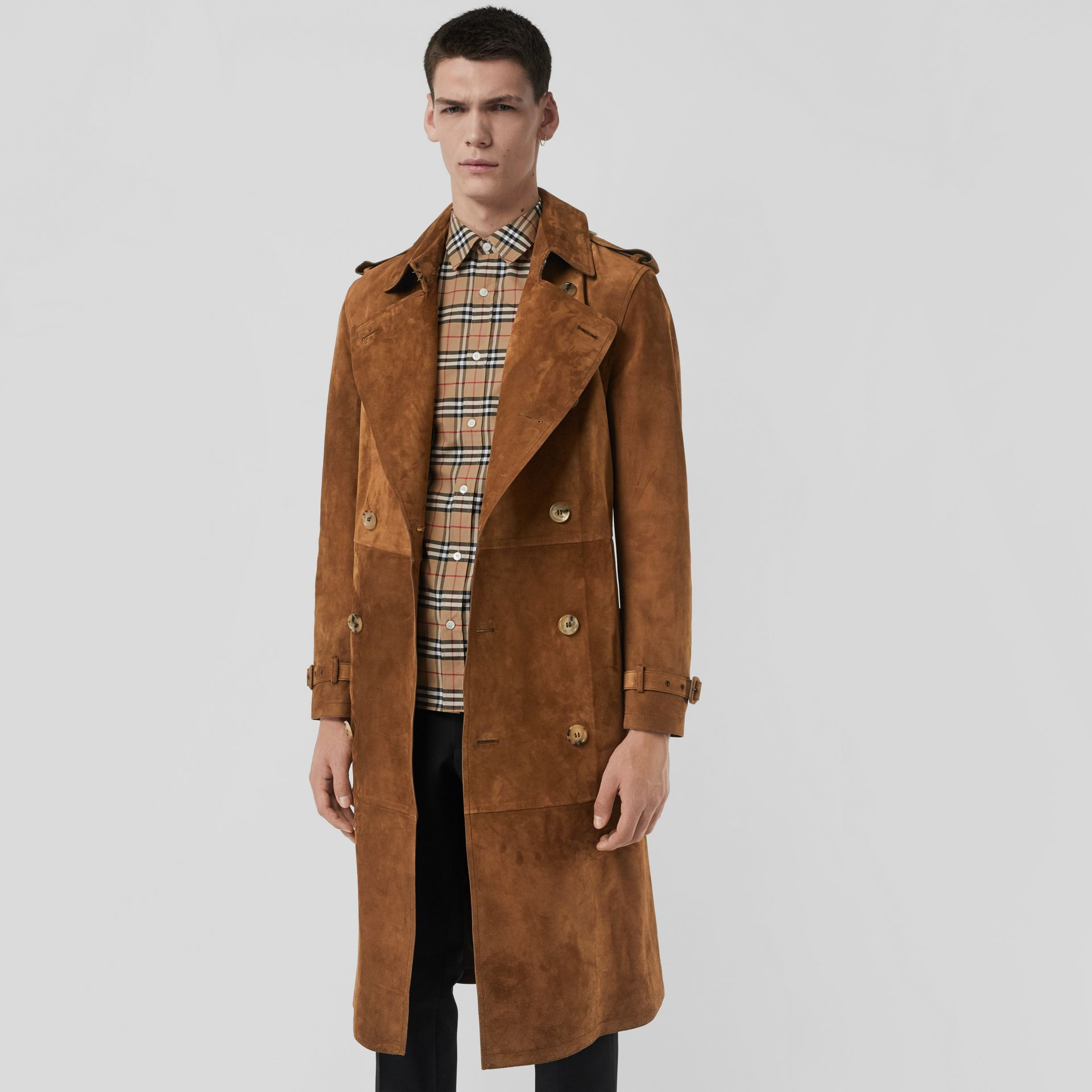 Suede Trench Coat in Sepia Brown - Men | Burberry Australia - gallery image 6