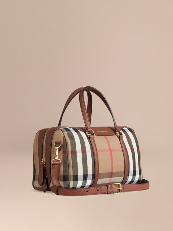 Bolso Alchester mediano en piel y checks House Ocre Marrón