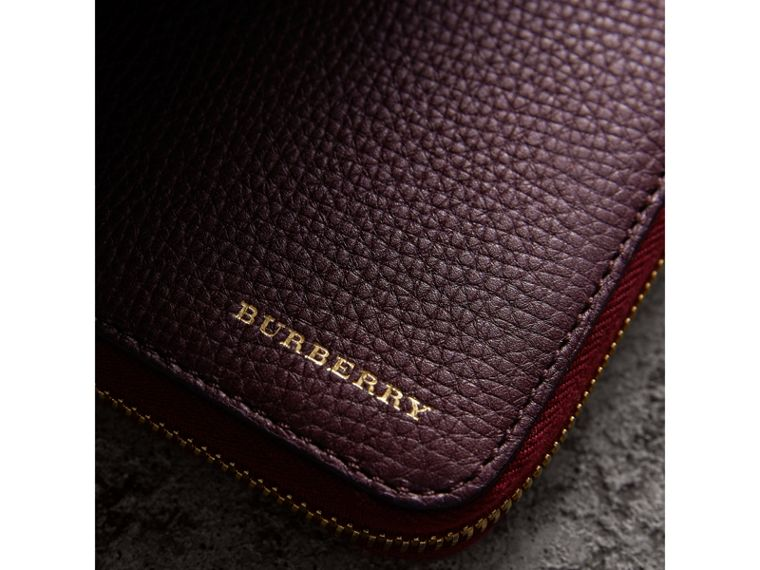 House Check and Grainy Leather Ziparound Wallet in Wine | Burberry - cell image 1
