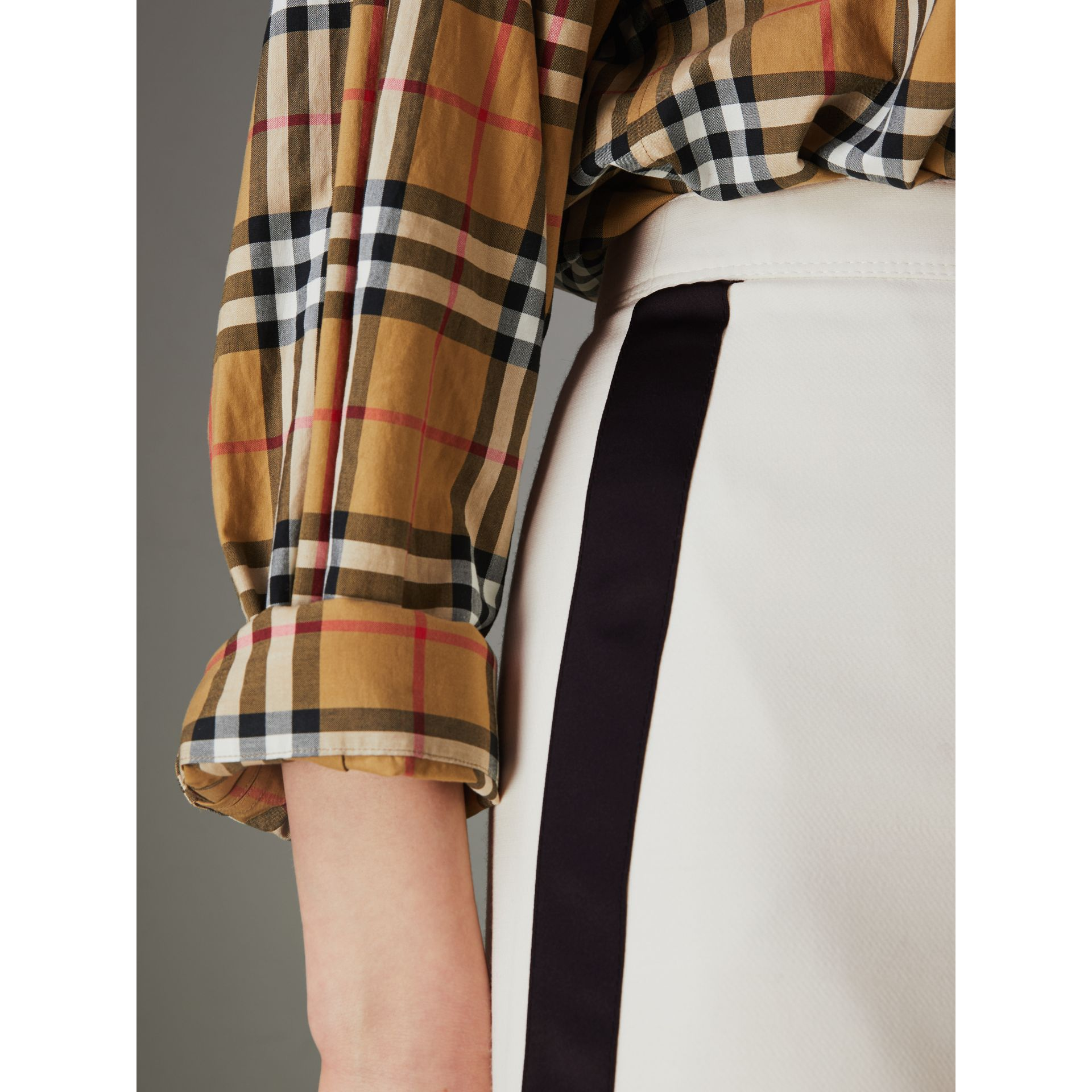 Sport Stripe Wool Silk Skirt in Off White - Women | Burberry - gallery image 1