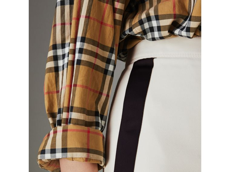 Sport Stripe Wool Silk Skirt in Off White - Women | Burberry - cell image 1