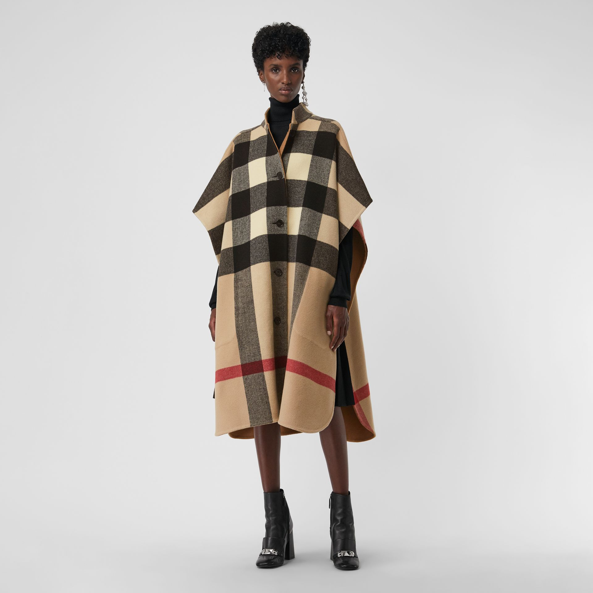 Reversible Check Oversized Poncho in Camel - Women | Burberry - gallery image 4