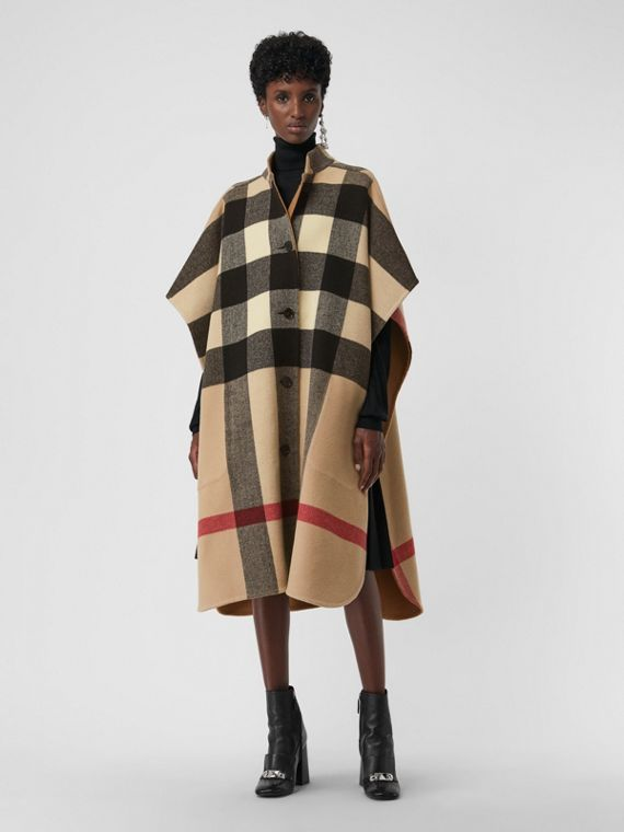 Reversible Check Oversized Poncho in Camel